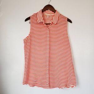 Banana republic orange stripe sleeveless blouse